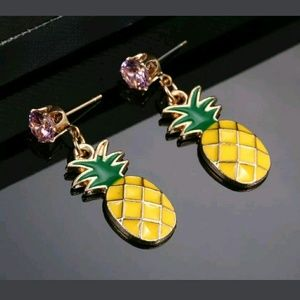 Jewelry - Gorgeous Pink Green and Yellow Pineapple Earrings